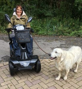 Rachel with scooter and Digby